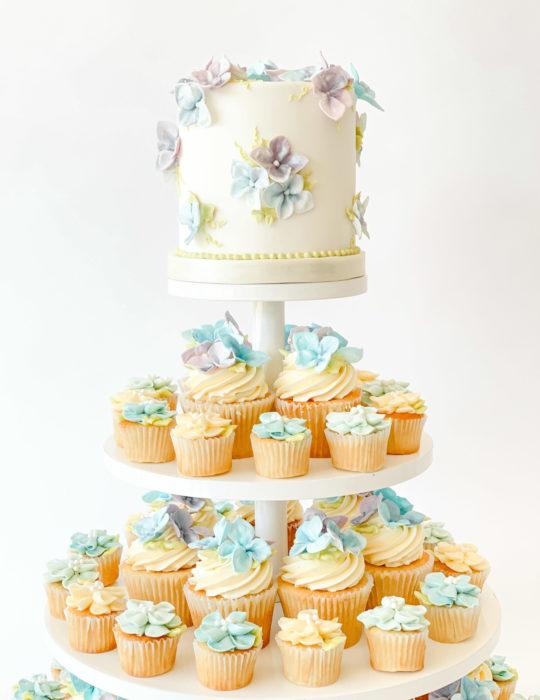 Sugar Hydrangea Cupcake Tower