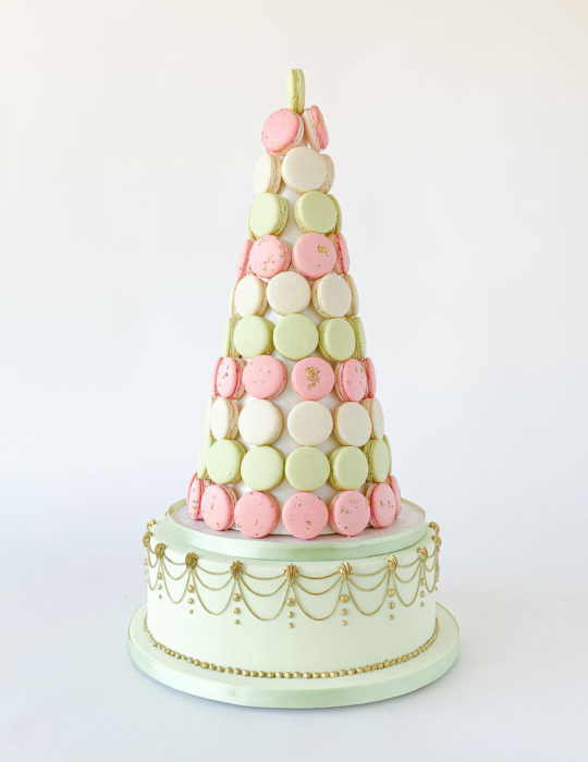 Macaron Tower with Cake Base