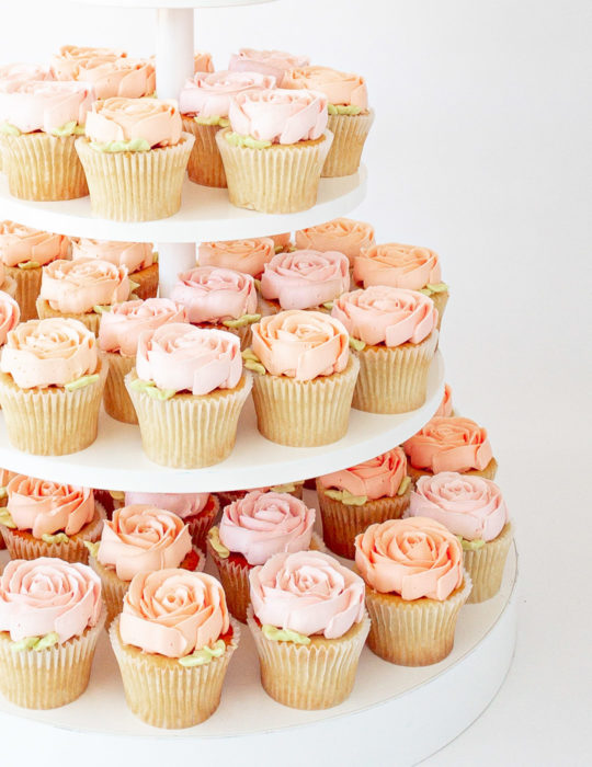 Buttercream Rose Cupcake Tower